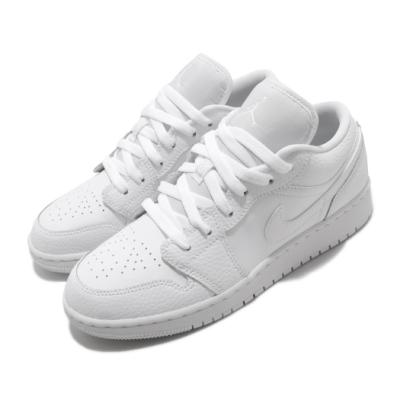 Nike 休閒鞋 Air Jordan 1 Low 運動 女鞋 經典款 喬丹一代 簡約 皮革 質感 大童 白 553560130
