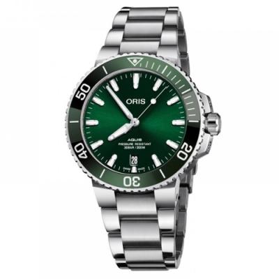 Oris 豪利時 Aquis 時間之海潛水300米日期機械錶-綠水鬼x銀/39mm