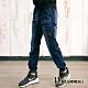 Dreamming 潮款刷色貼袋抽繩彈力牛仔縮口褲 多口袋 慢跑褲-深藍 product thumbnail 1