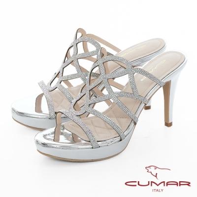 【CUMAR】情迷哈瓦那 - 排鑽鏤空透膚感防水台高跟涼鞋-銀