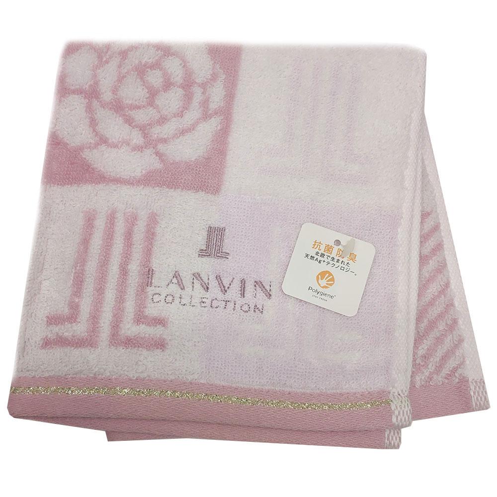 LANVIN 方格玫瑰品牌圖騰LOGO刺繡正方巾(粉紅系)
