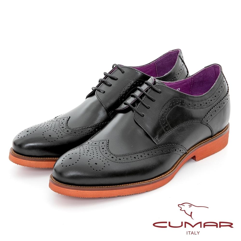 【CUMAR】隱藏增高 英倫學院風綁帶增高鞋-黑