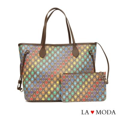 La Moda 街頭注目單品Logo壓紋兩件組大容量手提肩背斜背托特包