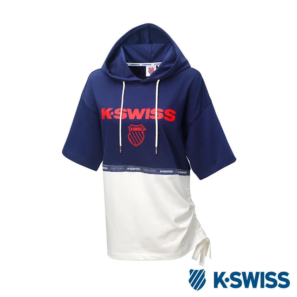 K-SWISS Hood T-Shirt短袖連帽上衣-女-藍