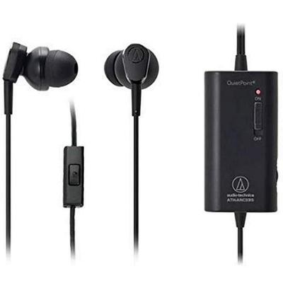 日本鐵三角Audio-Technica主動式抗噪耳機麥克風QUIETPOINT入耳式降噪耳麥ATH-ANC33iS(附飛機耳機轉接頭;φ13mm驅動單元)美國平行輸入
