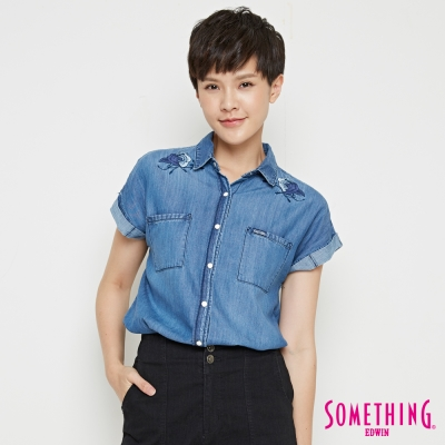 SOMETHING 牛仔瑰玫造型襯衫-女-中古藍