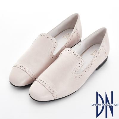 DN 俐落風格 復古刷舊牛皮樂福鞋-米白