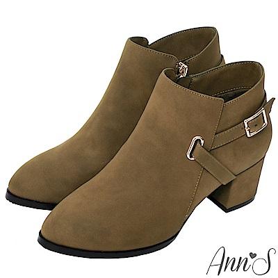 Ann'S當季感-金色V型扣帶粗跟短靴-棕