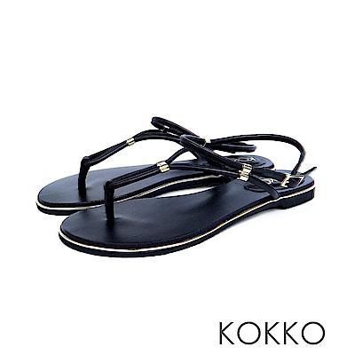 KOKKO  - 波希米亞細帶真皮夾腳平底涼鞋 - 經典黑