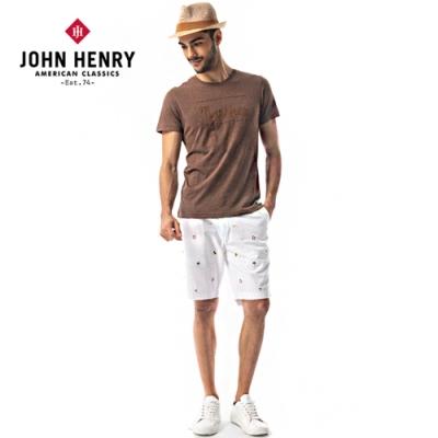 【JOHN HENRY】繞繩字母刺繡設計短袖T恤-咖啡色