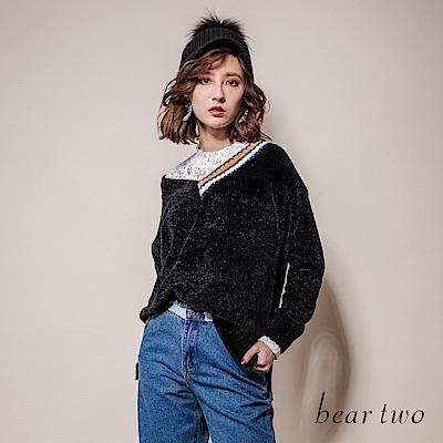 beartwo V領拼接素色燈心絨針織上衣(二色)