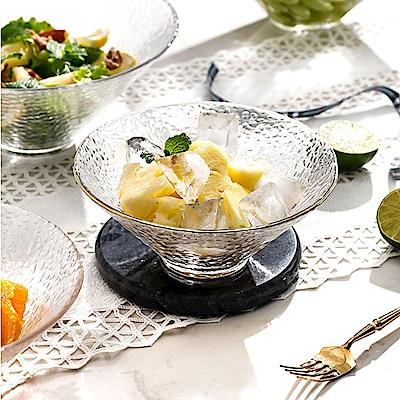 Homely Zakka 日式簡約手工錘目紋玻璃沙拉碗/甜品碗(小)