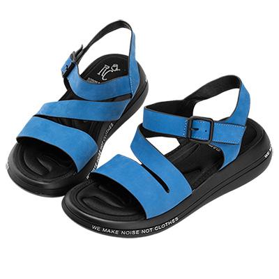 Robinlo 輕量動感牛皮彈力軟墊涼拖鞋 藍色