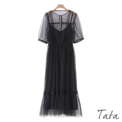 綁帶點點網紗拼接洋裝 TATA-(S/M)