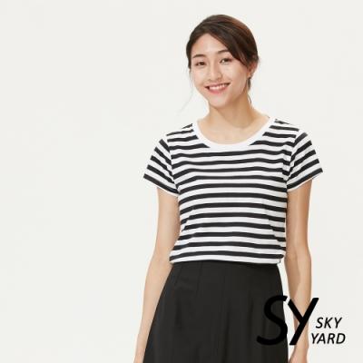 【SKY YARD 天空花園】純棉條紋圓領貼標上衣-黑條