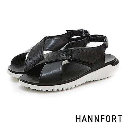 HANNFORT Ultra Flex 3D運動時尚交叉涼鞋-女-輕鬆黑