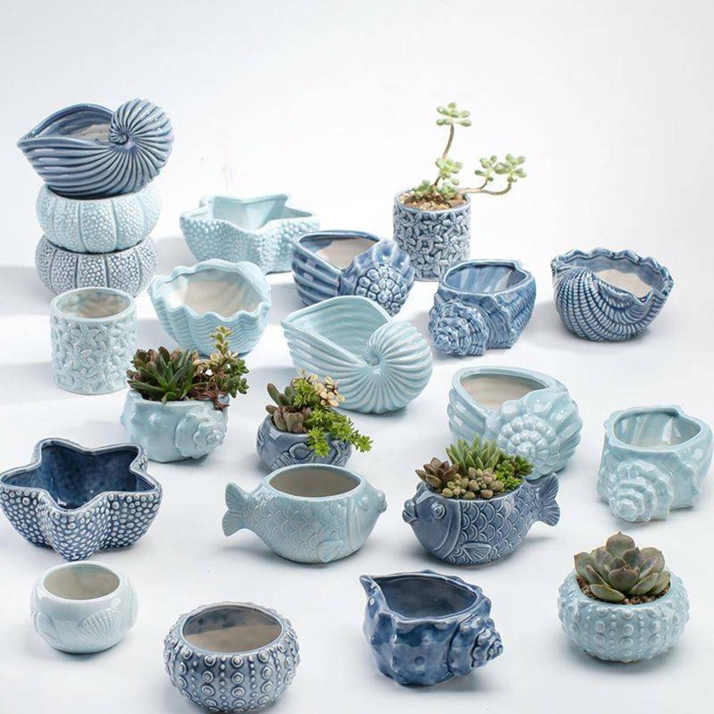古緣居 創意海洋風格多肉植物海螺貝殼陶瓷小花盆A款(四個一組)