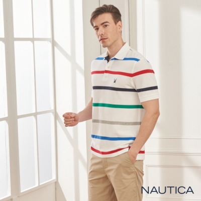 Nautica清新細條紋短袖POLO衫-白色