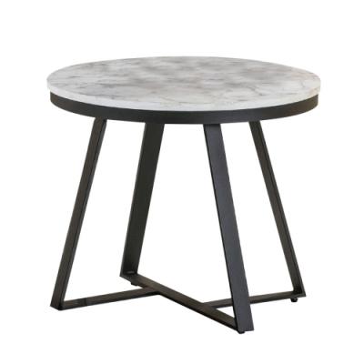 文創集 卡斯 現代2尺仿石面紋路木質小茶几/圓几-60x60x48cm免組