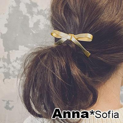AnnaSofia 金屬緞帶蝶結 純手工髮夾邊夾(金系)