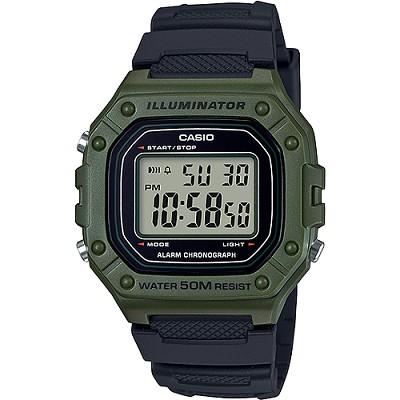 CASIO 復古帥氣方形數位電子錶-綠X黑(W-218H-3A)/26mm