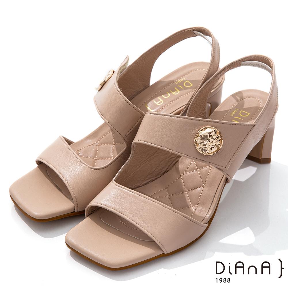 DIANA 6.7cm質感羊皮方頭寬板金屬釦魔鬼氈露趾高跟涼鞋-粉