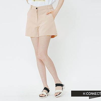 H:CONNECT 韓國品牌 女裝-知性純色棉麻短褲-卡其