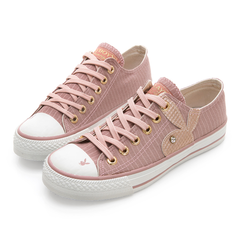 PLAYBOY女孩異想 條紋簡約時尚帆布鞋-粉