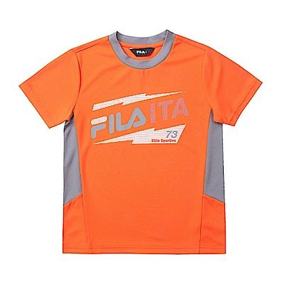 FILA KIDS 兒童吸濕排汗上衣-橘1TES-4911-OR
