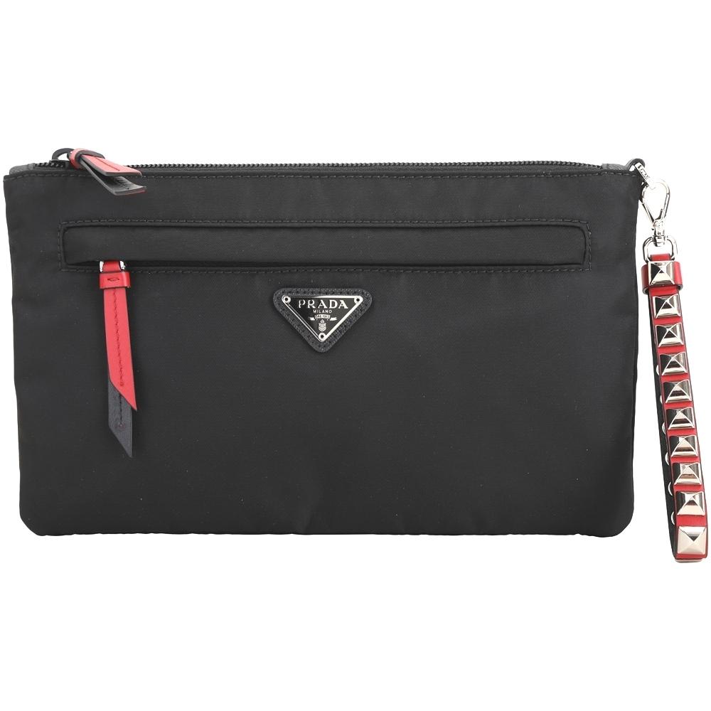 PRADA 火紅撞色皮革鉚釘可拆腕帶尼龍手拿包(黑色)