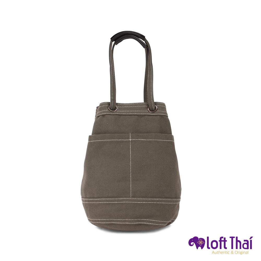 Loft THAI   泰.兩用帆布水桶包(小)   Gray @ Y!購物