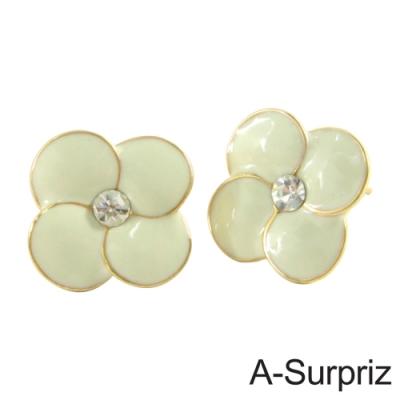 A-Surpriz 花之物語晶鑽耳環(甜米白)