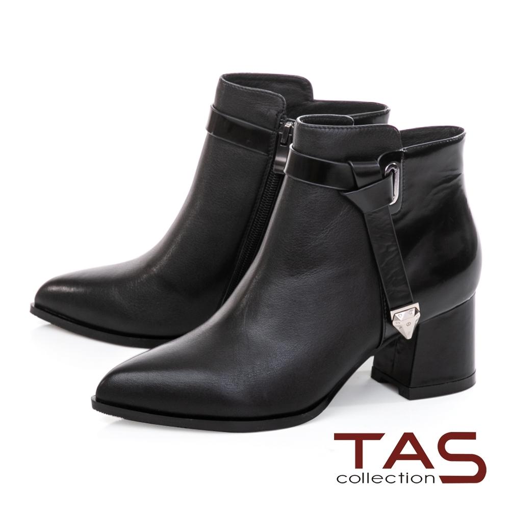 TAS素面牛皮拼接金屬繫帶粗跟短靴-尊爵黑