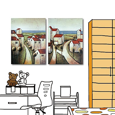 橙品油畫布 兩聯式 普普風無框掛畫-海邊的屋子30x40cm