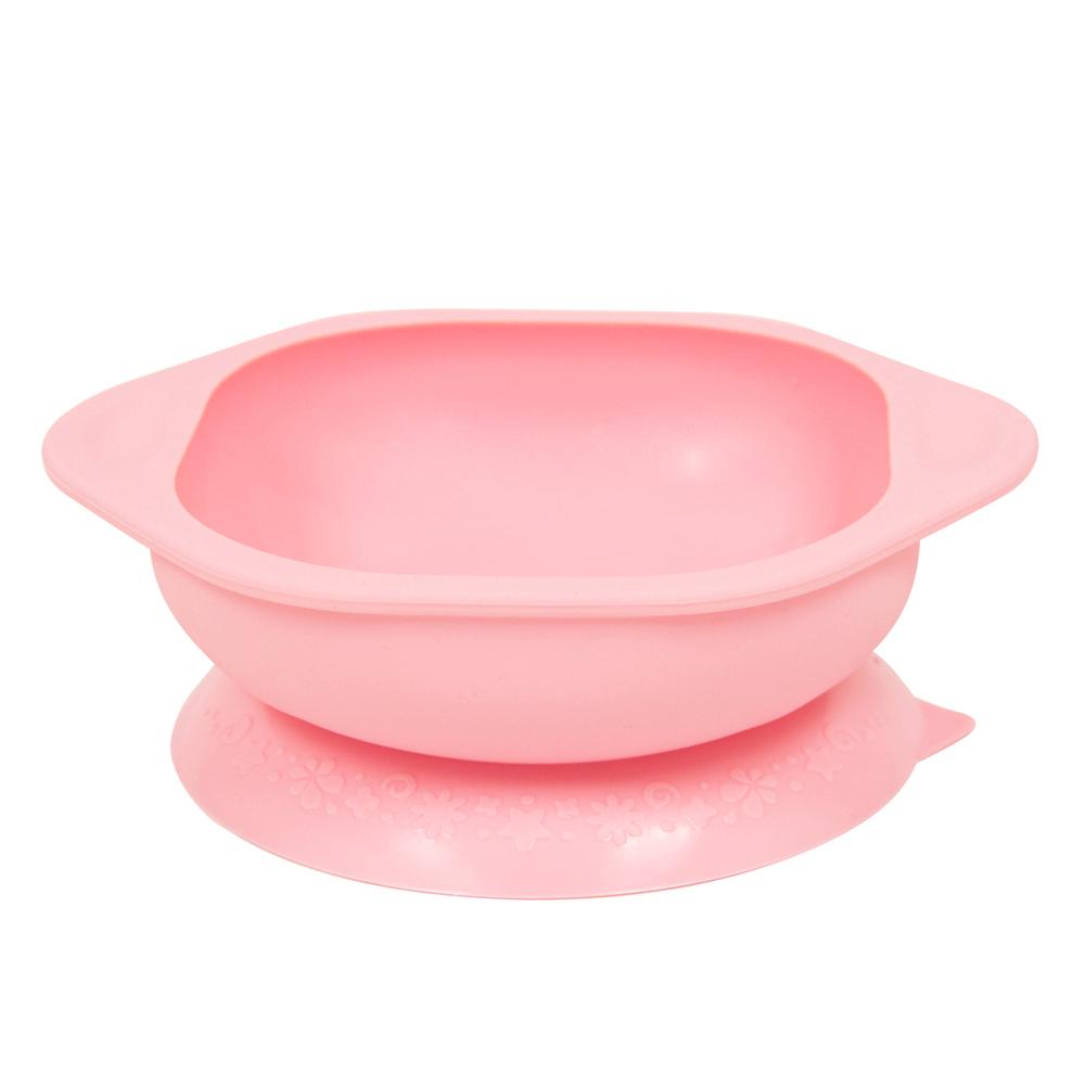 【MARCUS&MARCUS】動物樂園矽膠防漏幼兒學習吸盤碗-粉紅豬(粉)