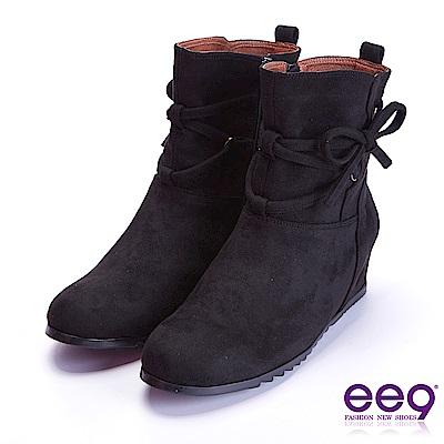 ee9 高雅氣質蝴蝶結繫帶素面平底短筒靴 黑色