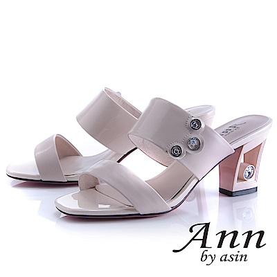 Ann by asin 漆皮質感~俐落個性金屬飾釦真皮粗跟拖鞋(粉紅色)