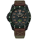 elegantsis 陸軍特戰限量款 機械錶 義大利皮革帆布錶帶-黑x墨綠/47.5mm