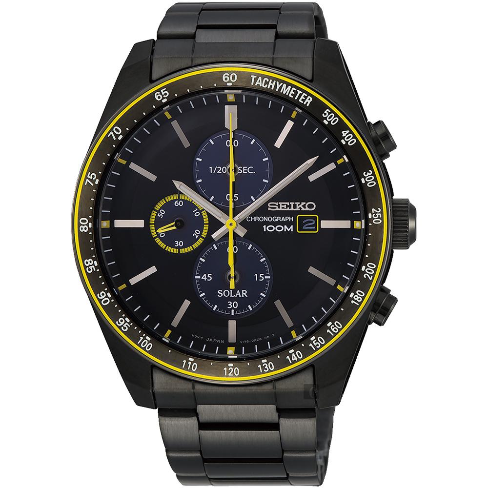SEIKO 精工 CS 紳仕品格太陽能計時腕錶(SSC729P1)