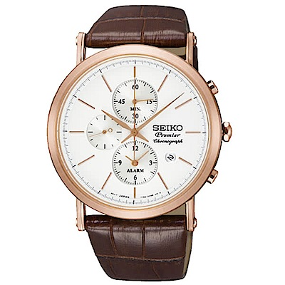 SEIKO 精工Premier系列經典皮革計時腕錶-玫瑰金x咖啡SNAF82J1