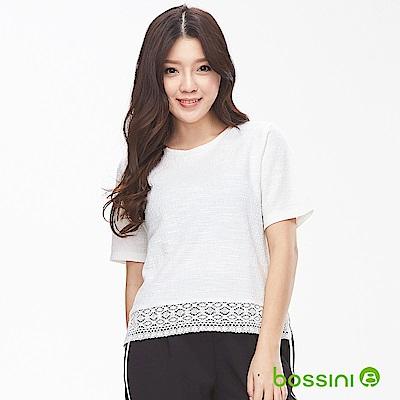 bossini女裝-圓領蕾絲短袖上衣02乳白