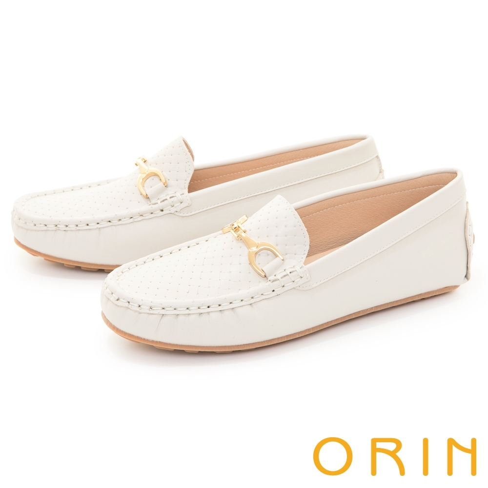 ORIN 復古真皮金屬馬銜釦 女 平底鞋 白色