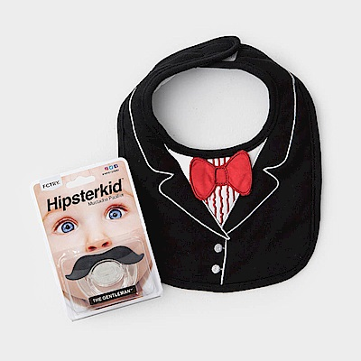 美國FMC X Hipsterkid 男嬰禮盒 - 紳士寶寶2件組 (圍兜+奶嘴)