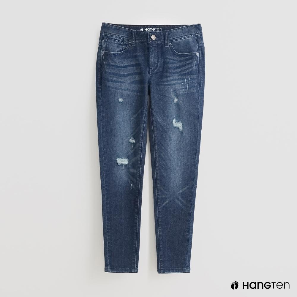 Hang Ten - 率性風刷破牛仔褲 - 藍