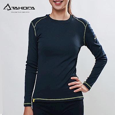 TAKODA耍小新機2018新款 女款刷毛機能輕薄圓領保暖衣(黑色)