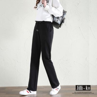 JILLI-KO 簡約運動風直筒顯瘦休閒長褲- 黑/灰