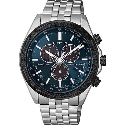 CITIZEN 星辰 光動能萬年曆計時手錶-藍 BL5568-54L