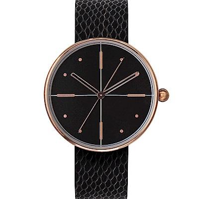 AÃRK 玫瑰金簡約時尚真皮革腕錶  –黑色/38mm