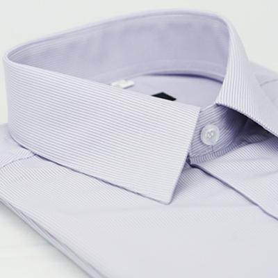 金‧安德森 紫色黑細紋吸排窄版短袖襯衫fast