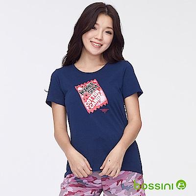 bossini女裝-印花短袖T恤38海軍藍